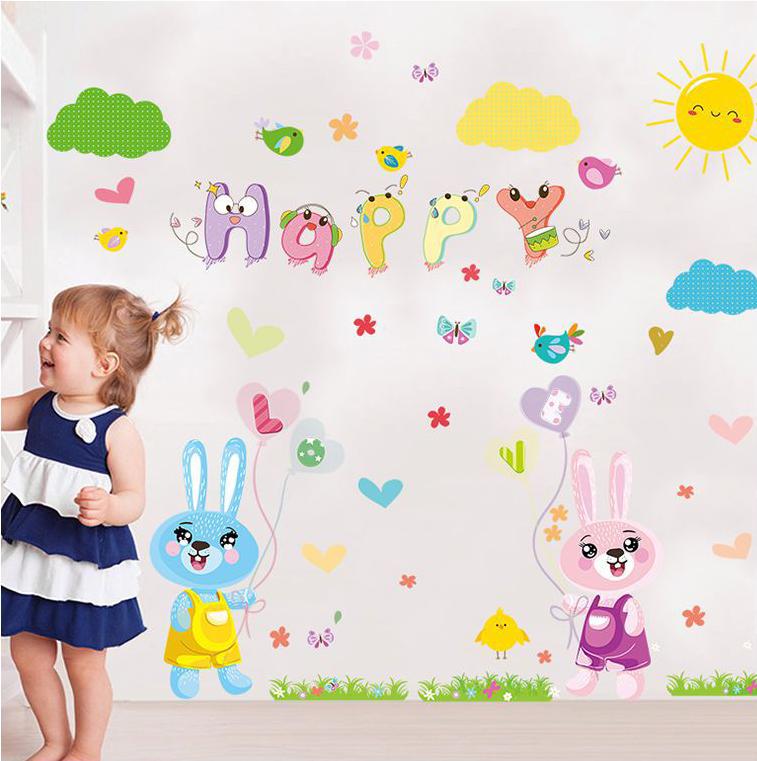 Decal dán tường Thỏ Happy