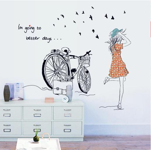 Decal dán tường xe đạp