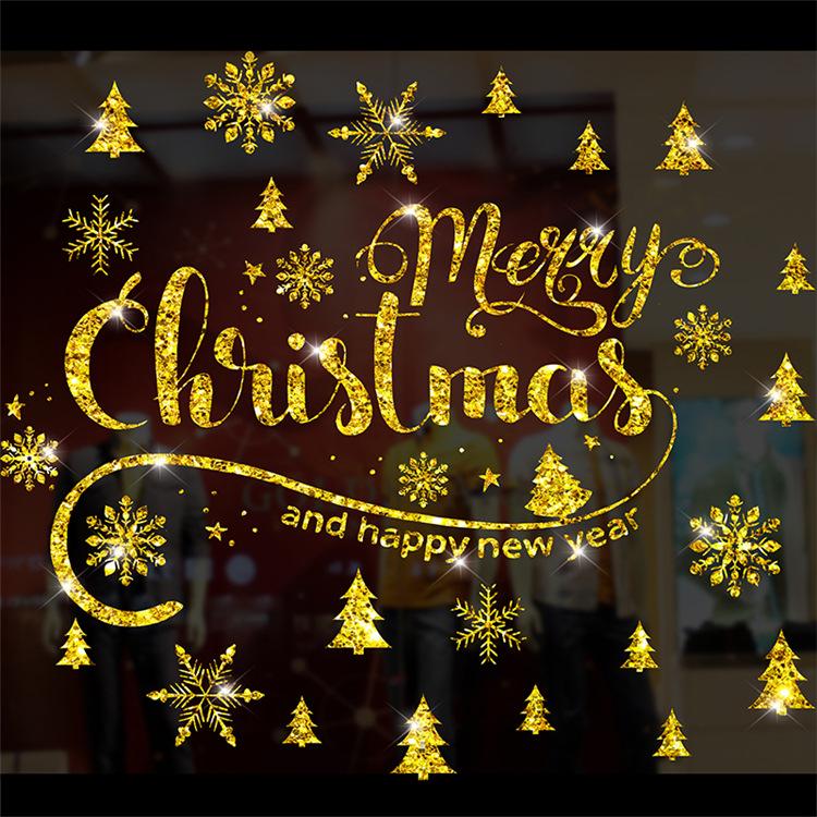 Decal Giáng Sinh Merry Christmas Nhũ Vàng – DGS42