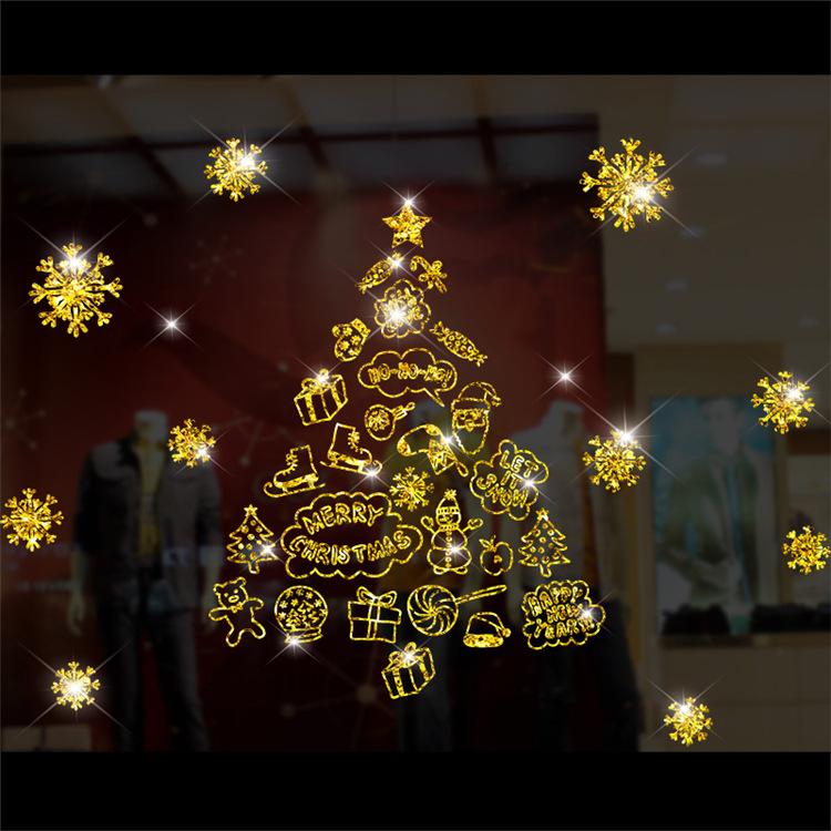 Decal Cây Thông Noel Nhũ Vàng – DGS44