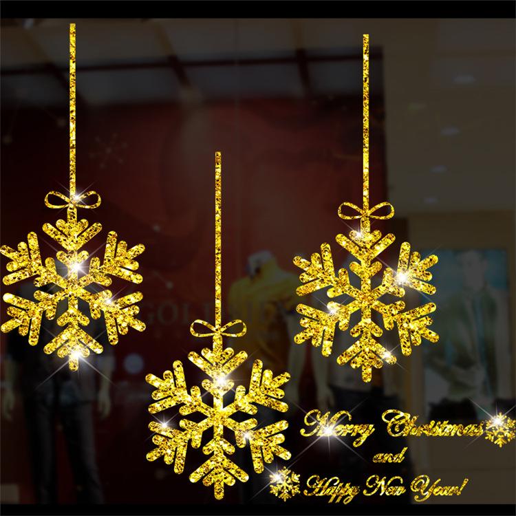 Decal Dây Treo Bông Tuyết Noel Nhũ Vàng – DGS45