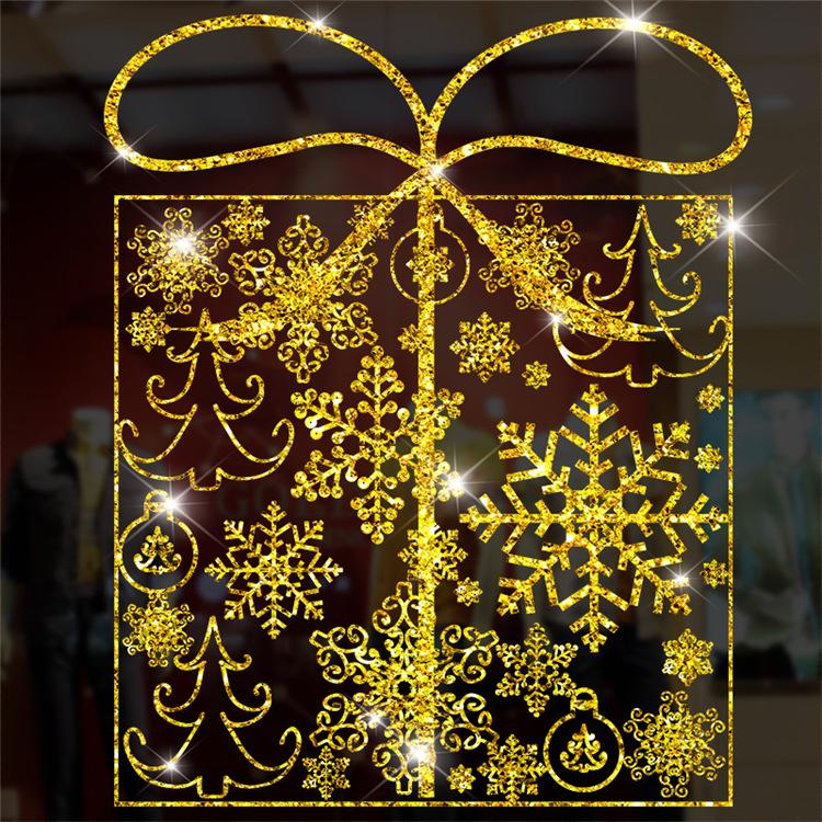 Decal Hộp Quà Giáng Sinh Nhũ Vàng – DGS48