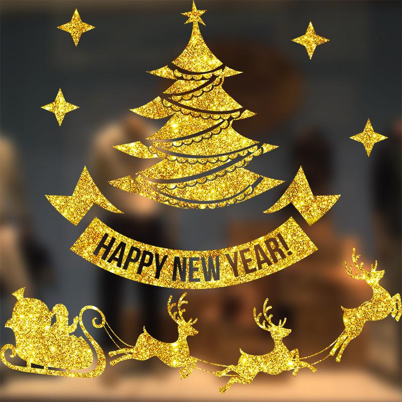 Decal Cây Thông Noel Nhũ Vàng – DGS57