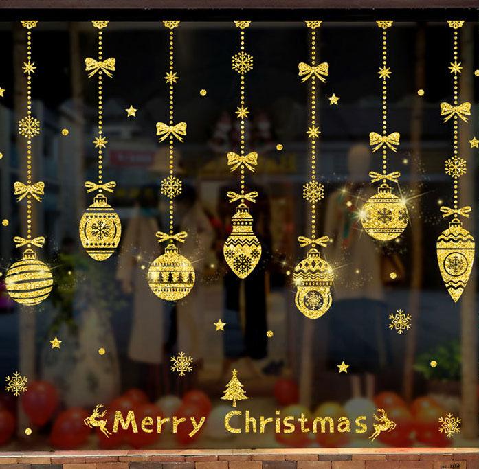 Decal Dán Tường Dây Treo Giáng Sinh Phủ Nhũ