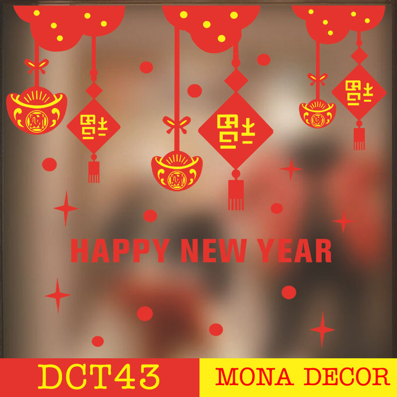 Decal Dán Tường Dây Treo Happy New Year