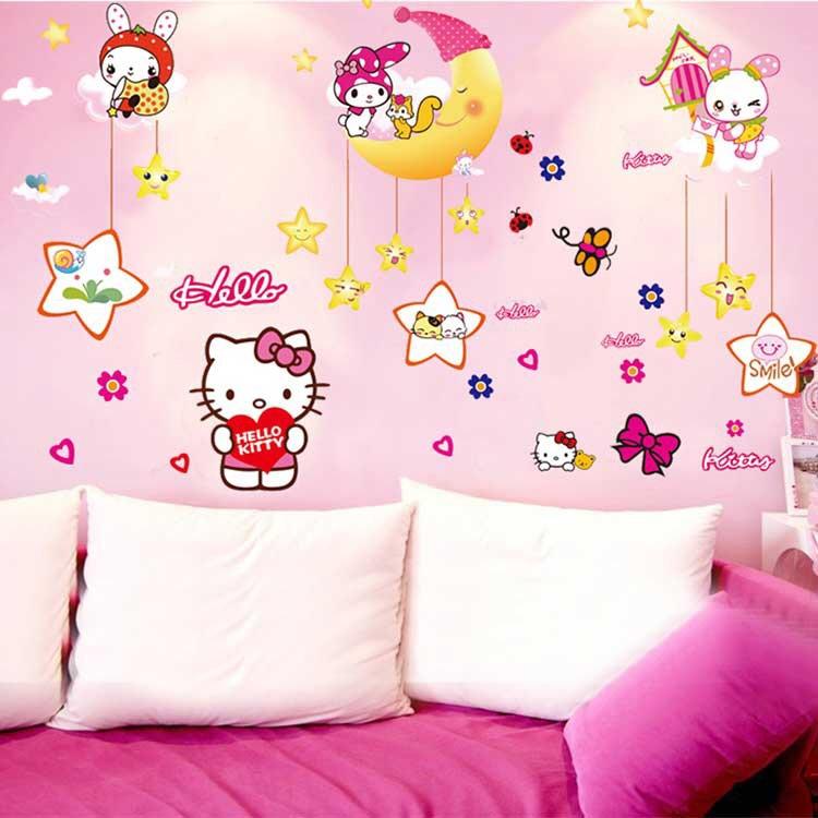 Decal Dán Tường Chúc Ngủ Ngon Và Hello Kitty