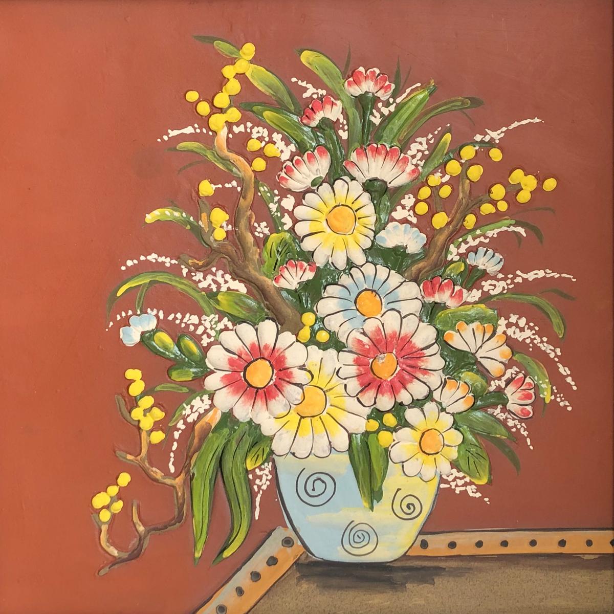 Tranh Gốm Bát Tràng – Bình Hoa Cúc