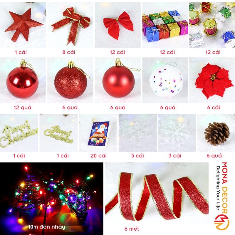 Gói Phụ Kiện Trang Trí Cây Thông Noel 1m8