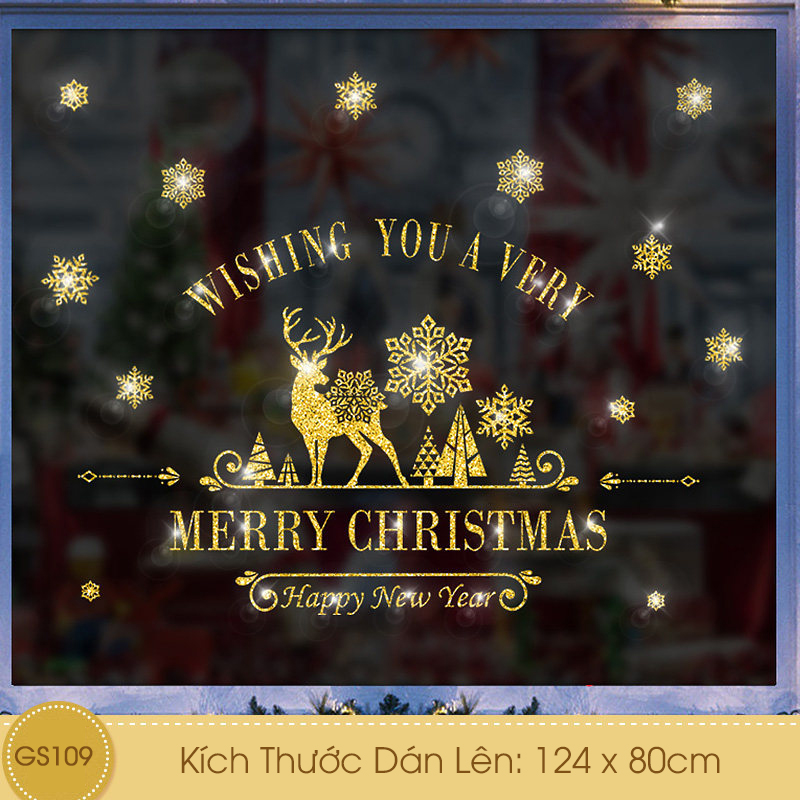 Decal Giáng Sinh Tuần Lộc Bông Tuyết