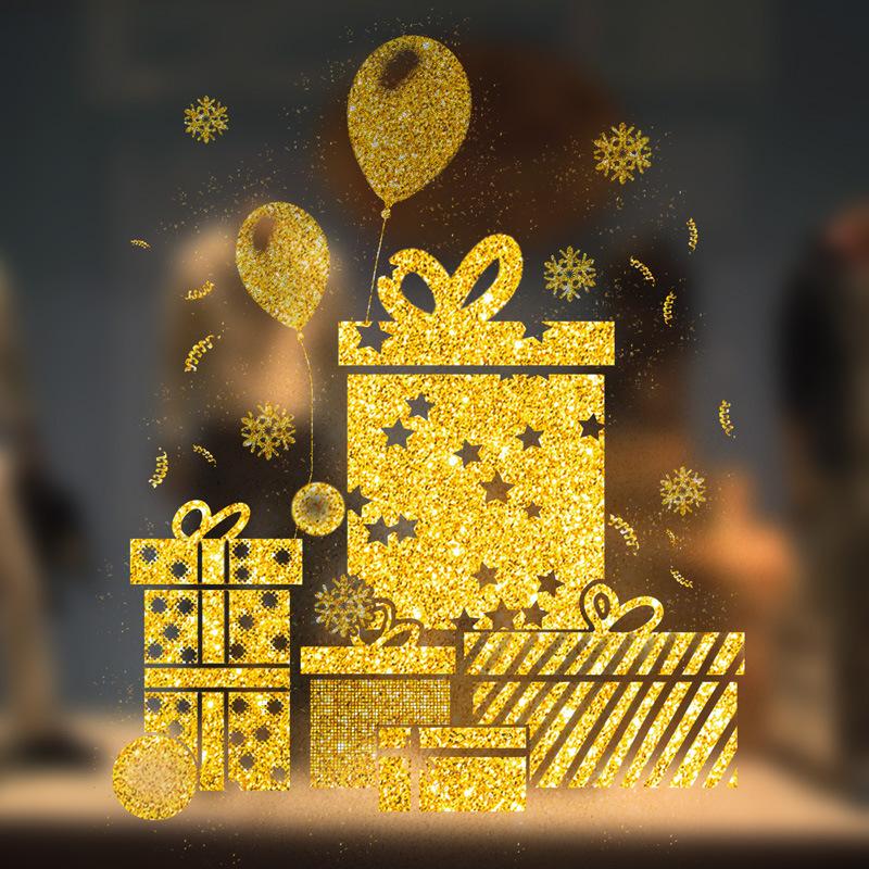 Decal Giáng Sinh Hộp Quà Phủ Nhũ
