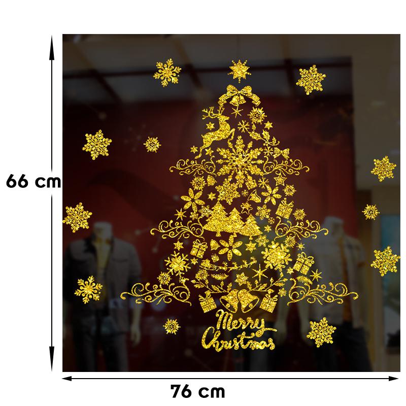 Decal Giáng Sinh Cây Thông Noel Phủ Nhũ