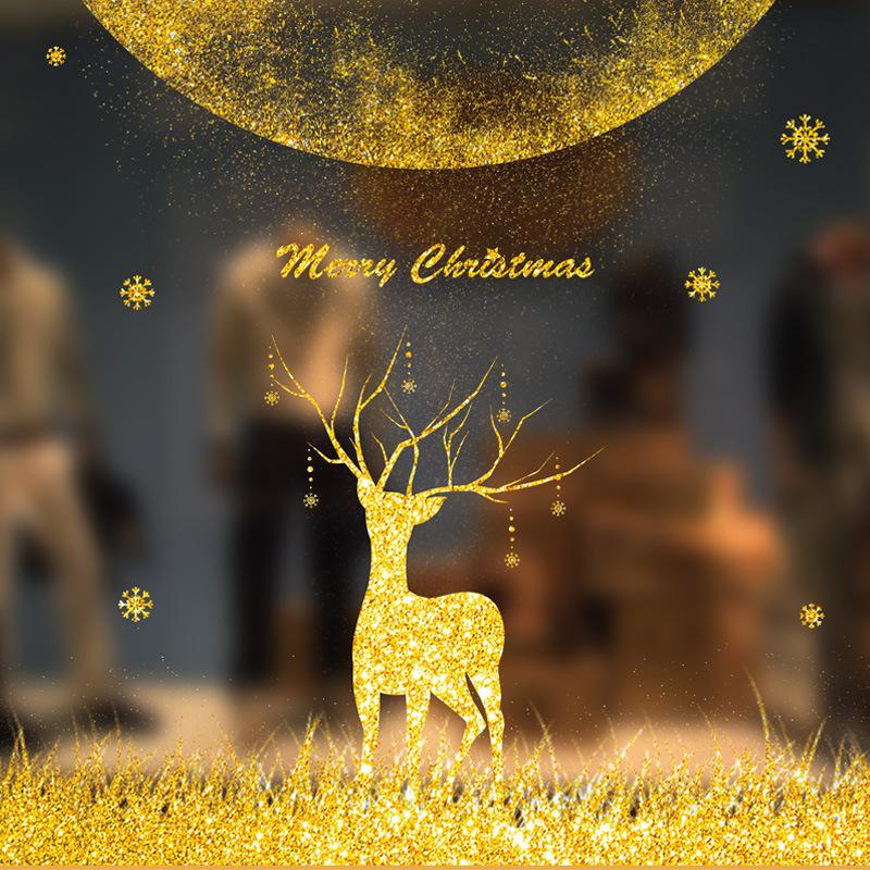 Decal Giáng Sinh Tuần Lộc Nhũ Vàng