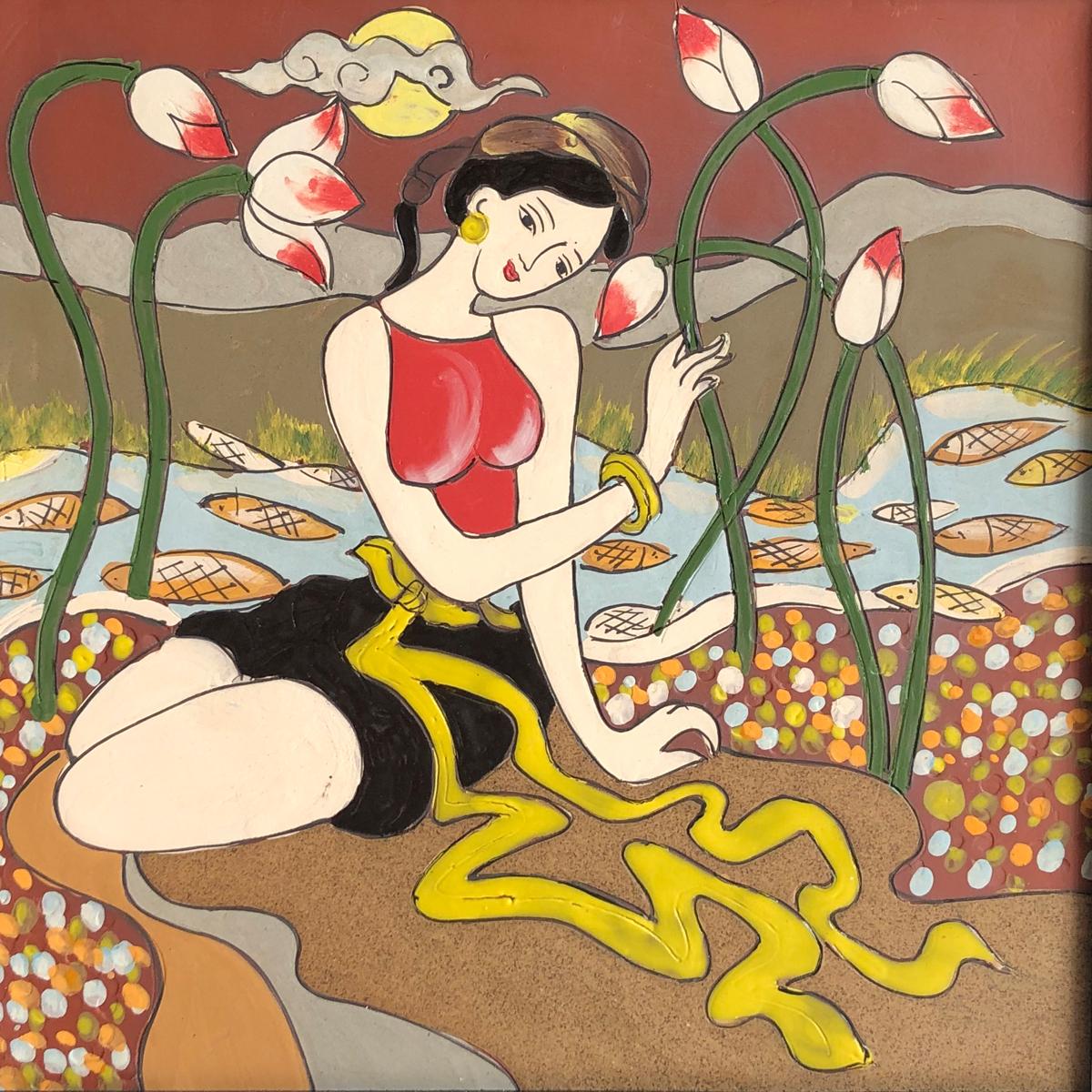 Tranh Gốm Bát Tràng – Thiếu Nữ Bên Hồ Sen